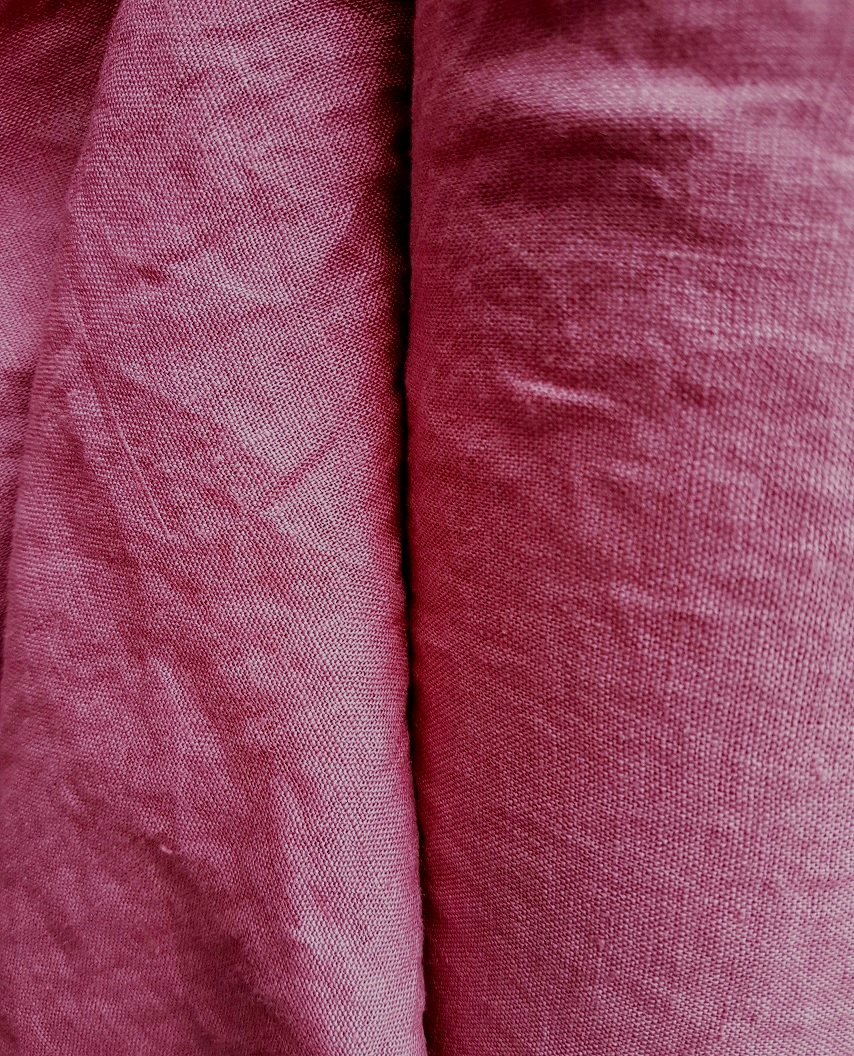 8c88c6e2 100% linen fabric with stone washed finish, Crimson-rose-red color ...