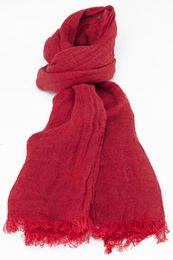 100% Natural Linen Scarf,  Red