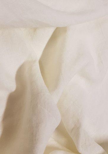 Wide 100% linen fabric with stone washed finish, white