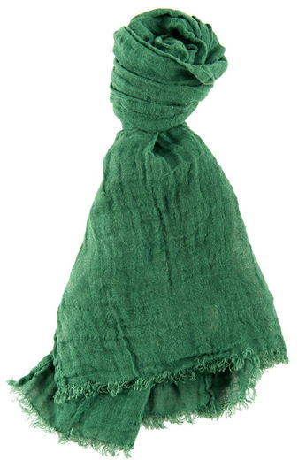100% Natural Linen Scarf, Dark Green