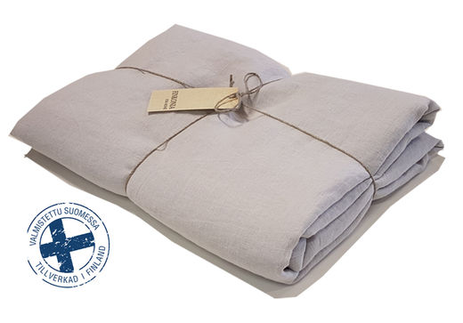 Stone Washed Linen Bed Sheet, Light Gray