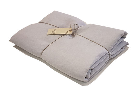Double Wide Stone Washed Linen Bed Sheet, Light Gray