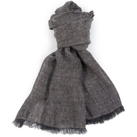 100% Natural Linen Scarf, Gray-black