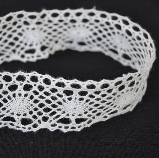 100% Linen Lace Trim, White