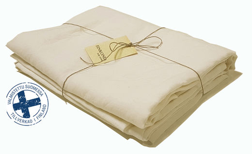 Stone Washed Linen Bed Sheet, Semi-bleached