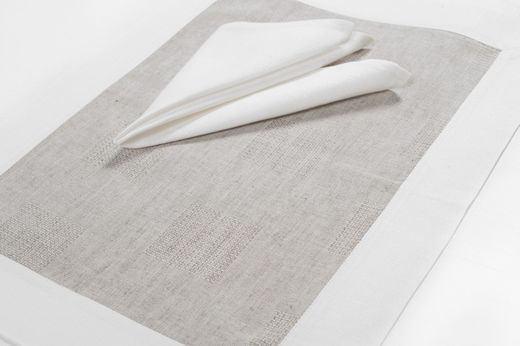 Linen Napkins, Gray/White