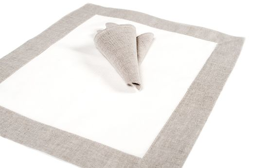 Linen Napkins, White/Gray