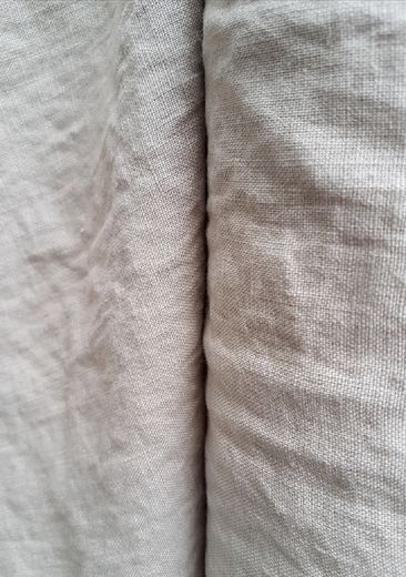 100% linen fabric with stone washed finish, natural colour