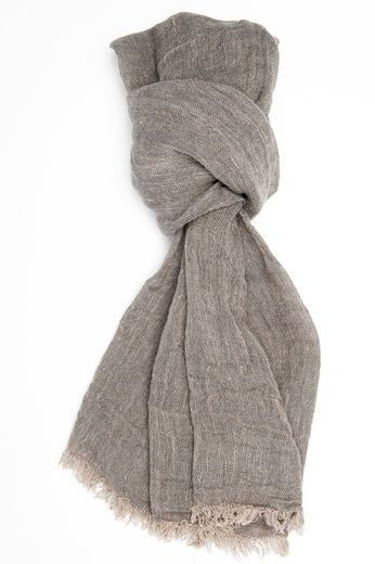 Copy of 100% Natural Linen Scarf, Gray-black