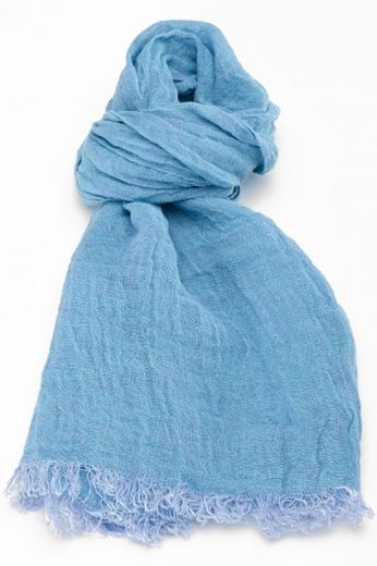 100% Natural Linen Scarf, Light Blue