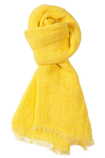 100% Natural Linen Scarf, Yellow