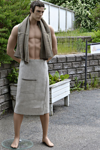 Men's Bath Wrap Towel with Pocket, Natural