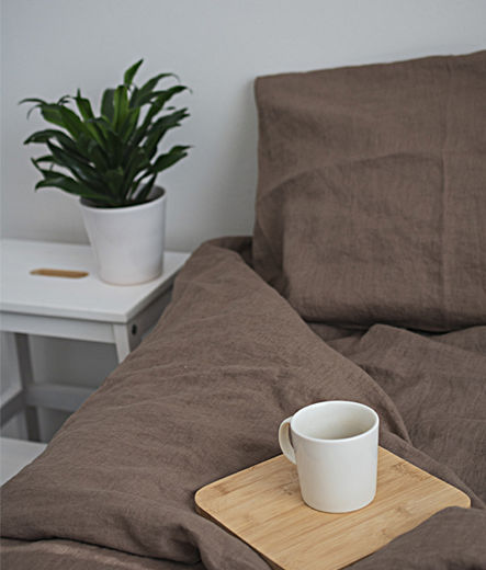 Stone Washed Linen Duvet Cover Set, Coffe With Milk