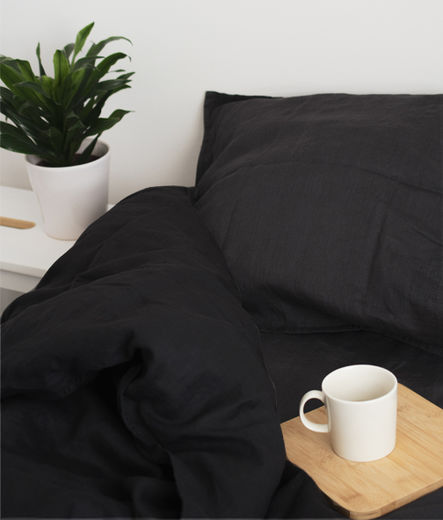 Stone Washed Linen Duvet Cover Set, Black