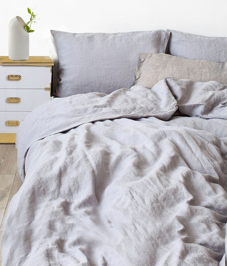 Stone Washed Linen Duvet Cover Set, Light Grey
