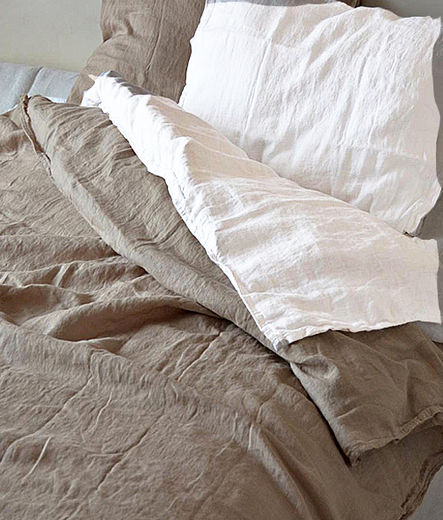 Stone Washed Linen Duvet Cover Set, Natural