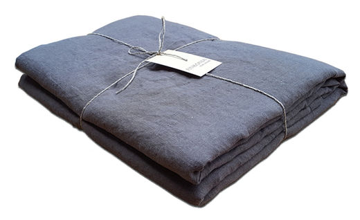 Double Wide Stone Washed Linen Bed Sheet, Gray