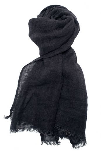 100% Natural Linen Scarf, Black