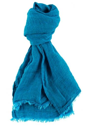 100% Natural Linen Scarf, Blue-Turquoise
