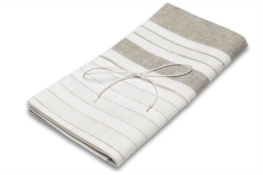 100% Natural Hand towel,  White/Natural
