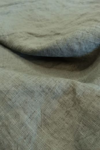 100% linen fabric with stone washed finish, Green
