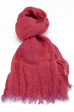 100% Natural Linen Scarf, Light Red