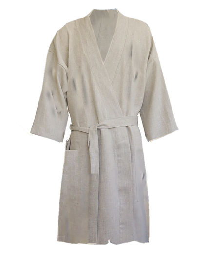 Stonewashed  Naural Linen Bathrobe
