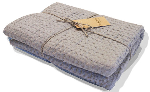 Linen Waffle Washed HandTowel, Light Gray