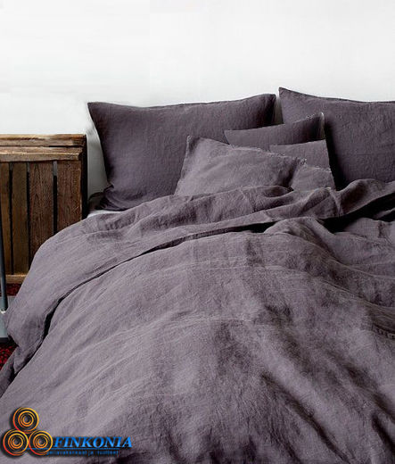 Stone Washed KingSize Linen  Duvet Cover Set, Grey