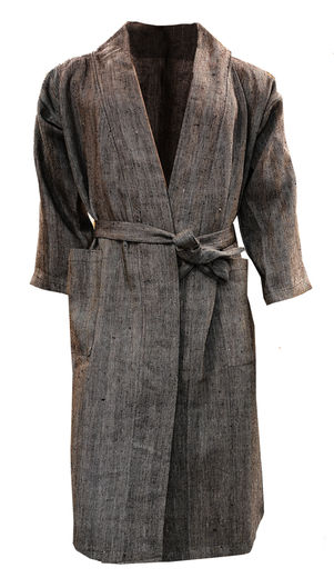 Linen pure bathrobe black/gray