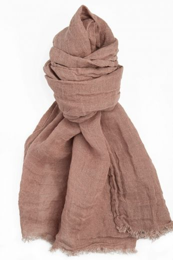 100% Natural Linen Scarf, Coffe with Milk