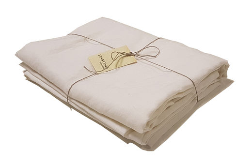 Stone Washed Linen Bed Sheet, Whtie